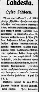 Lyseopuuhat 18.12.1910 leike